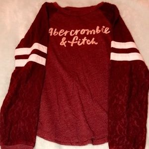 Abercrombie kids size 7/8 maroon long sleeve tee✰
